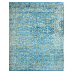 Oushak Design Rug in Medium Blue and Yellow Green in All over Design
