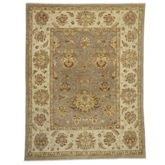 New Oushak Transitional Area Rug with William and Mary Style