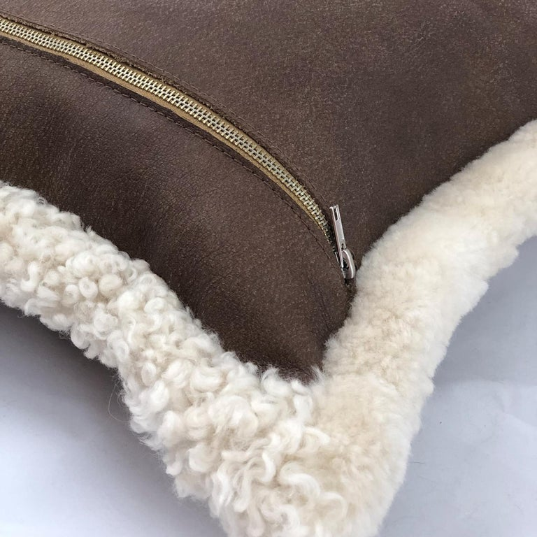 Country Outback Brown Leather and Shearling Sheepskin Pillow Rectangle Cushion For Sale