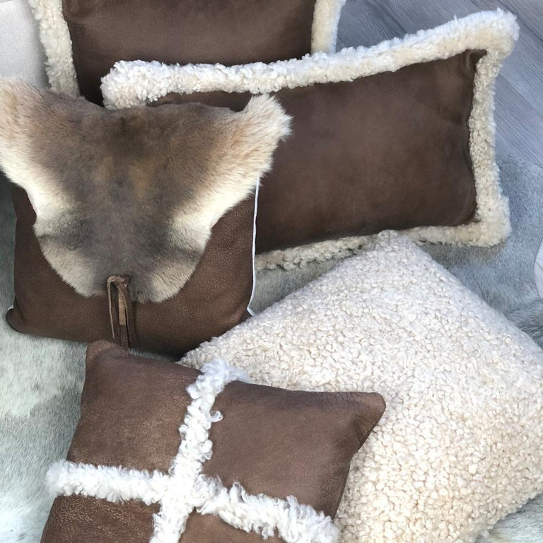 Australian Outback Brown Leather and Shearling Sheepskin Pillow Rectangle Cushion For Sale