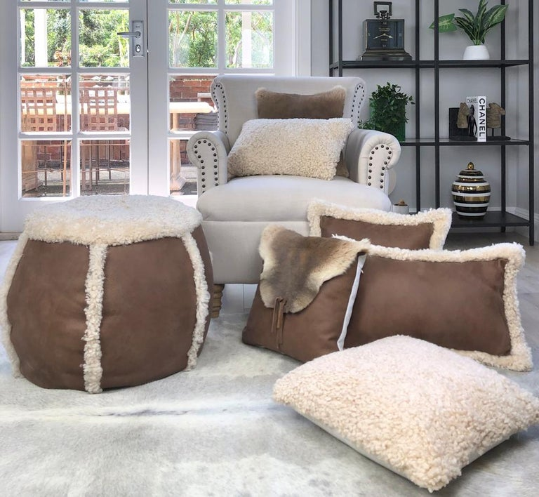 Hand-Crafted Outback Brown Leather and Shearling Sheepskin Pillow Rectangle Cushion For Sale