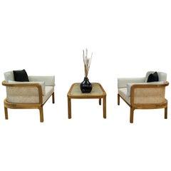 Outdoor 3-Piece Lounge Set, Teak or Rattan