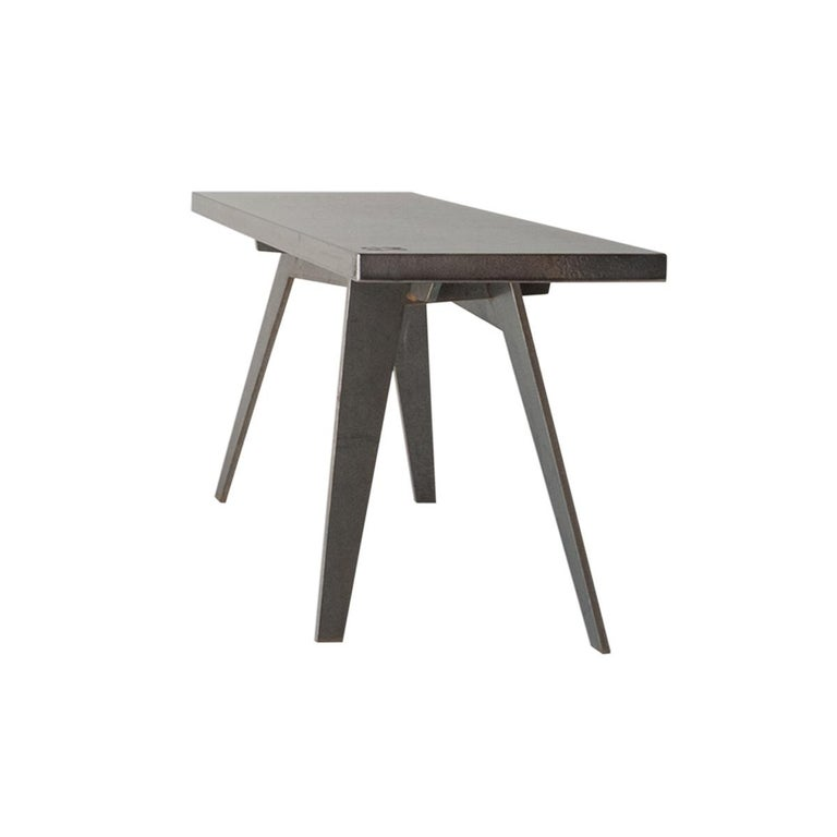 Modern Outdoor Bench in Etna Lava Stone and Steel, Venturae V4, Filodifumo For Sale