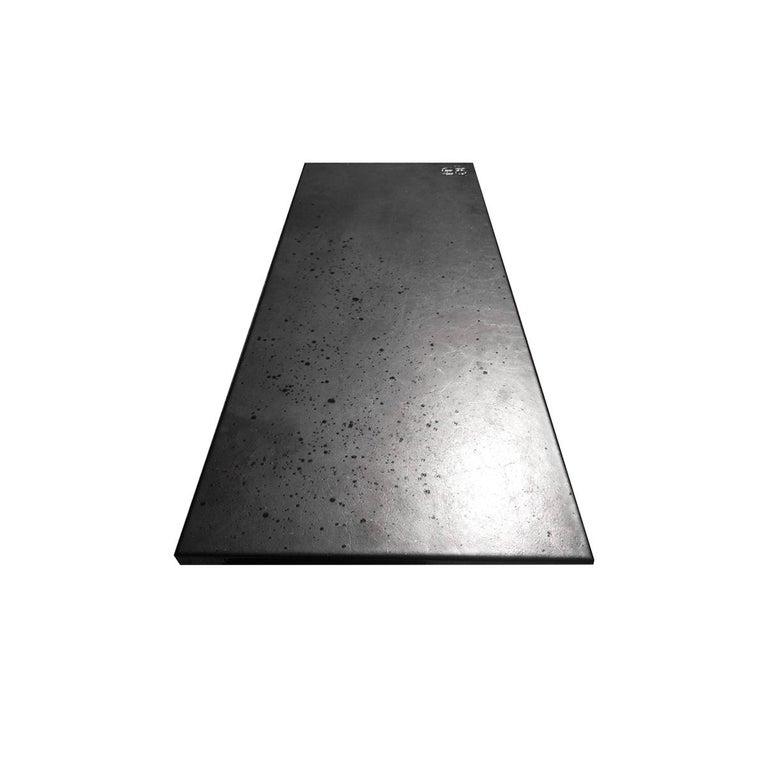 Italian Outdoor Bench in Etna Lava Stone and Steel, Venturae V4, Filodifumo For Sale