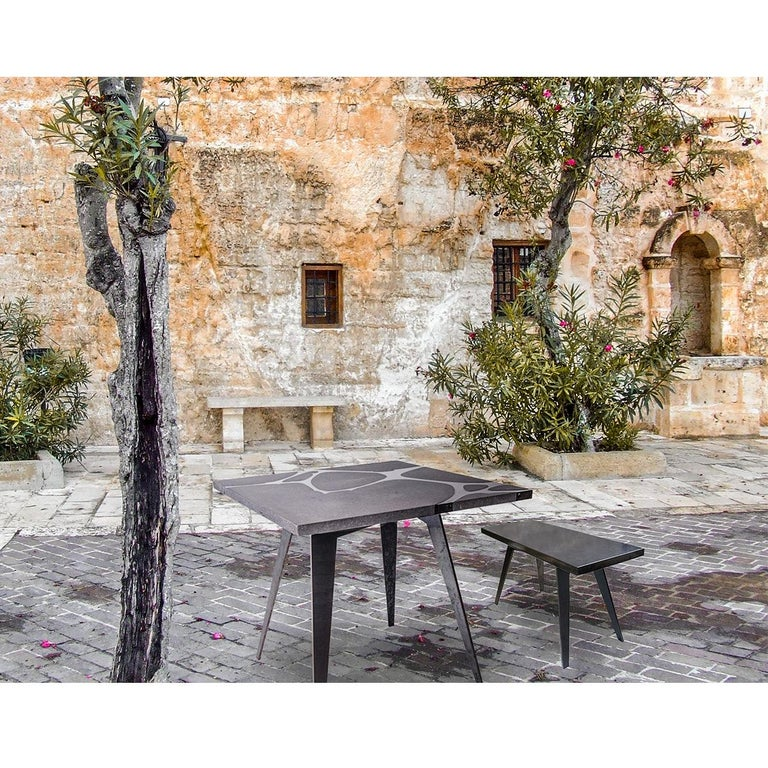 Outdoor Bench in Etna Lava Stone and Steel, Venturae V4, Filodifumo For Sale 1