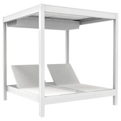 In stock in Los Angeles, White Outdoor Patio Cabana Daybed, Made in Italy