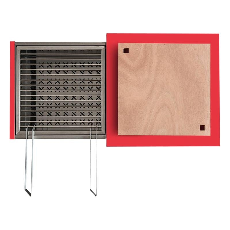 Outdoor Charcoal Barbecue with Sliding Grills, Snail Mono Vision Red