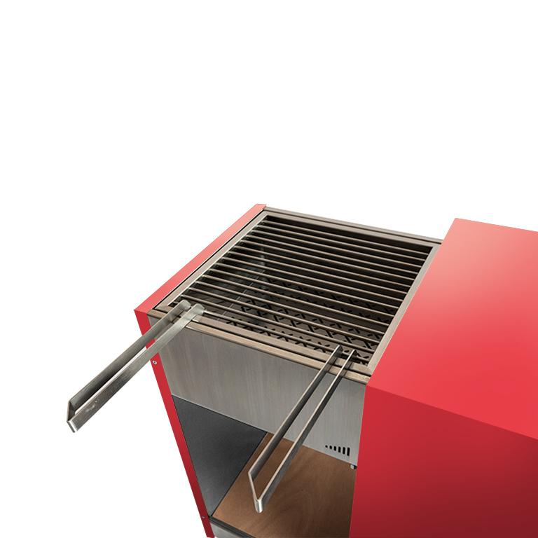 Modern Outdoor Charcoal Barbecue with Sliding Grills, Snail Mono Vision Red For Sale