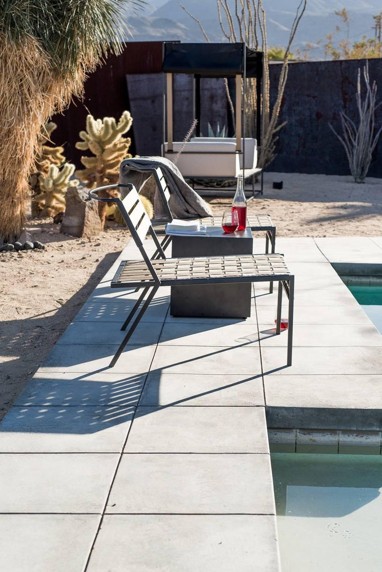 Powder-Coated Outdoor Charcoal Block Table For Sale
