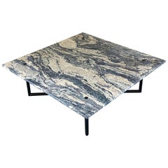 Outdoor Coffee Table Black Stainless Steel Base + Square Honed Stone Top