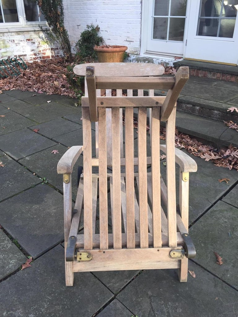 Late 20th Century Outdoor Commodore Steamer Chair Chaise Longue by Barlow Tyrie For Sale