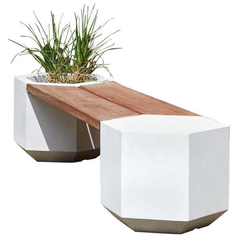 Outdoor Concrete Hex-Bench, 220cm Wide