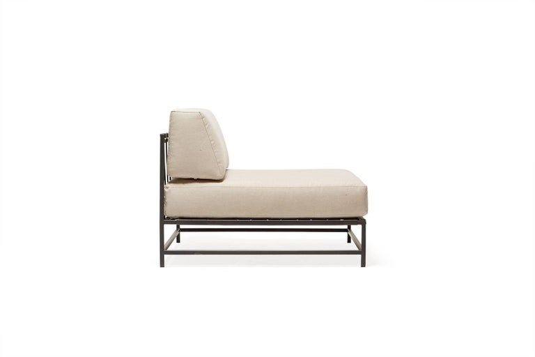 Modern Outdoor Cream and Charcoal Chair For Sale