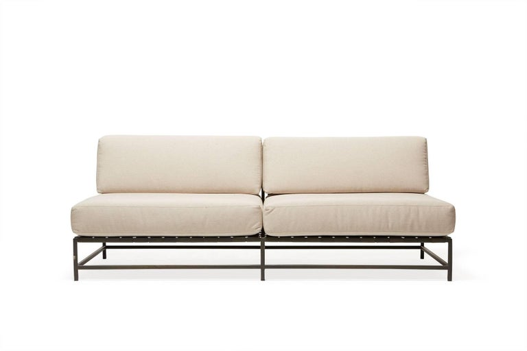 Inspired by weekend visits to the stark desert landscapes found a few hours east of Los Angeles, this collection is composed of steel frames that have been zinc primed and powder coated for rust resistance, interwoven stretch webbing for a soft and
