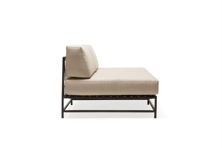 Modern Outdoor Cream and Charcoal Loveseat For Sale
