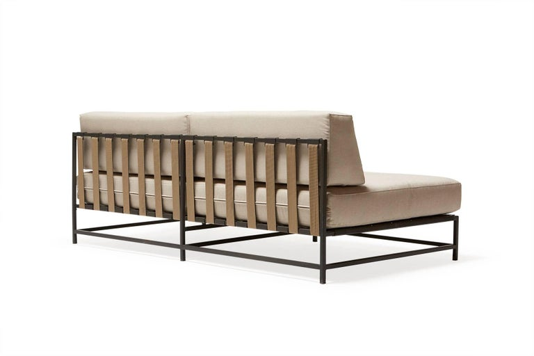 American Outdoor Cream and Charcoal Loveseat For Sale