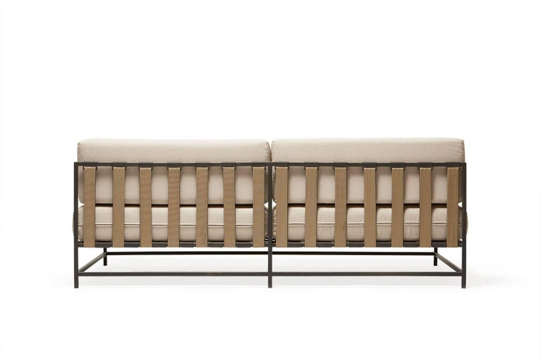 Powder-Coated Outdoor Cream and Charcoal Loveseat For Sale