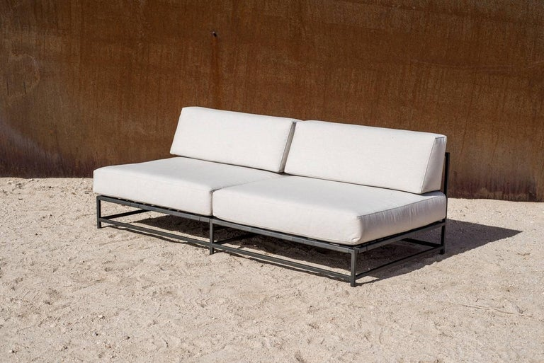 Outdoor Cream and Charcoal Loveseat In New Condition For Sale In Los Angeles, CA