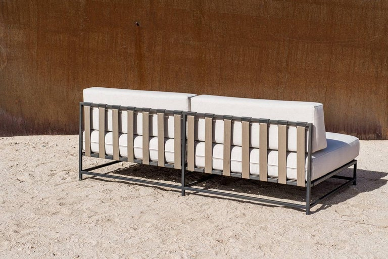 Contemporary Outdoor Cream and Charcoal Loveseat For Sale