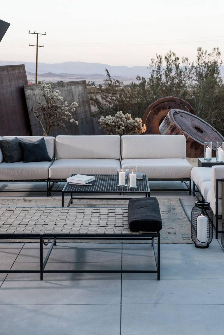 Steel Outdoor Cream and Charcoal Loveseat For Sale