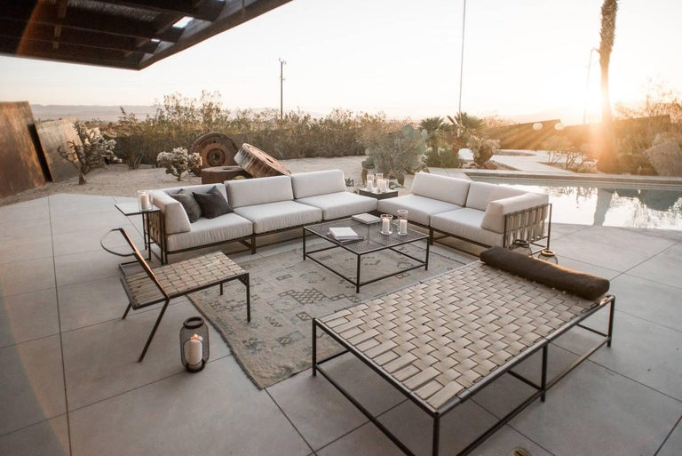 Outdoor Cream and Charcoal Loveseat For Sale 1