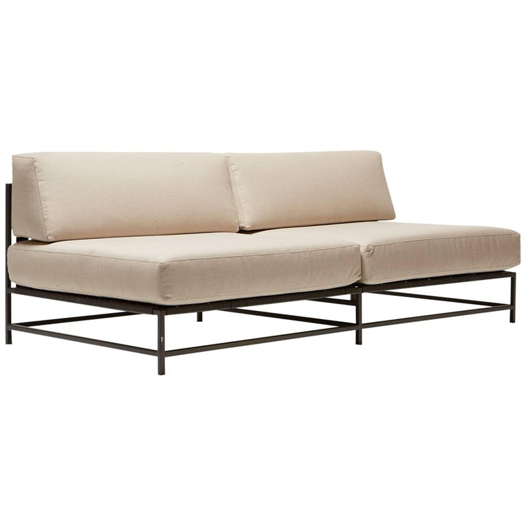 Outdoor Cream and Charcoal Loveseat For Sale