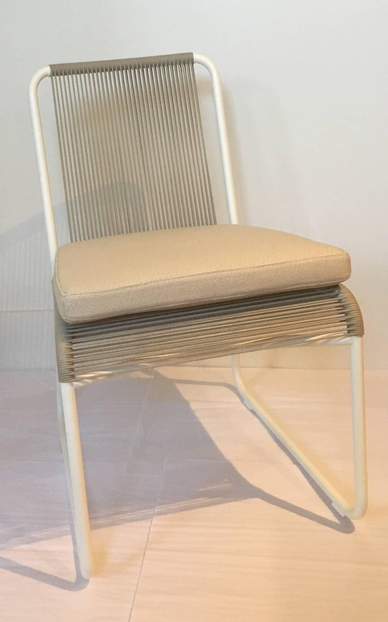 Polyester Outdoor Dining Chair by RODA in Milk and Sand Color with Ivory Seat Cushion For Sale