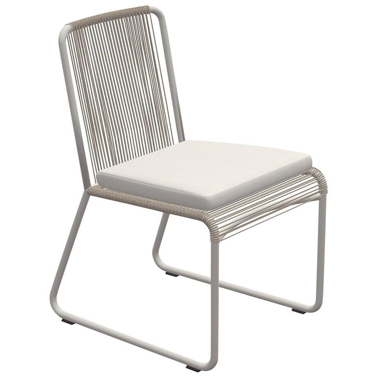 Outdoor Dining Chair by RODA in Milk and Sand Color with Ivory Seat Cushion For Sale