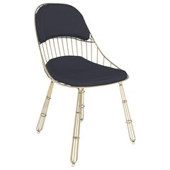 Outdoor Dining Chair Stainless Steel Gold Plated Waterproof Fabric Black