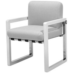 Outdoor Dining Chair Stainless Steel Nickel Plated Waterproof Fabric White