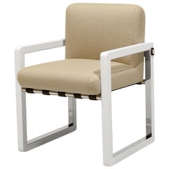 Outdoor Dining Chair Stainless Steel Nickel Plated Waterproof Fabric Beige