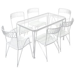 Outdoor Dining Table and Six Chairs by John Salterini, New White Powder Coat