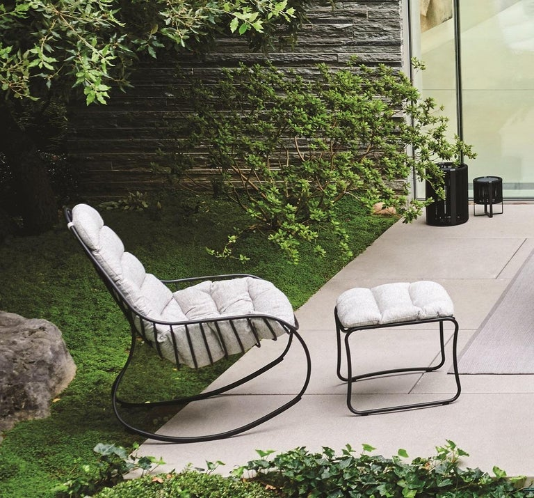 Belgian Outdoor Folia Rocking Chair with Ottoman Designed by Kris Van Puyvelde For Sale