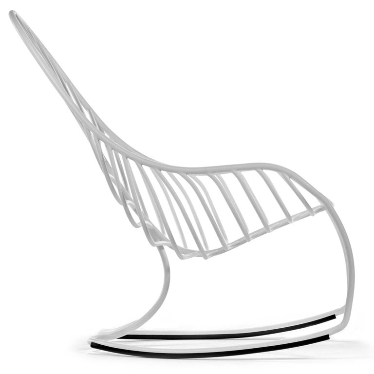 Powder-Coated Outdoor Folia Rocking Chair with Ottoman Designed by Kris Van Puyvelde For Sale
