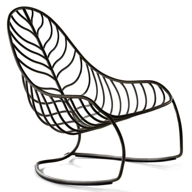 Outdoor Folia Rocking Chair with Ottoman Designed by Kris Van Puyvelde In New Condition For Sale In Boston, MA