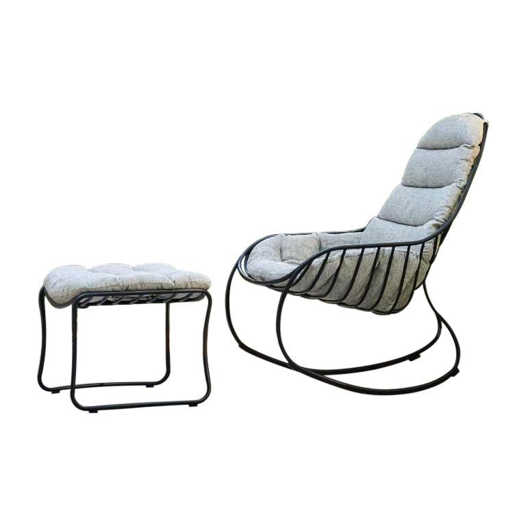 Outdoor Folia Rocking Chair with Ottoman Designed by Kris Van Puyvelde For Sale