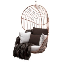 Outdoor Hanging Chair Stainless Steel Copper Plated Waterproof Fabric White