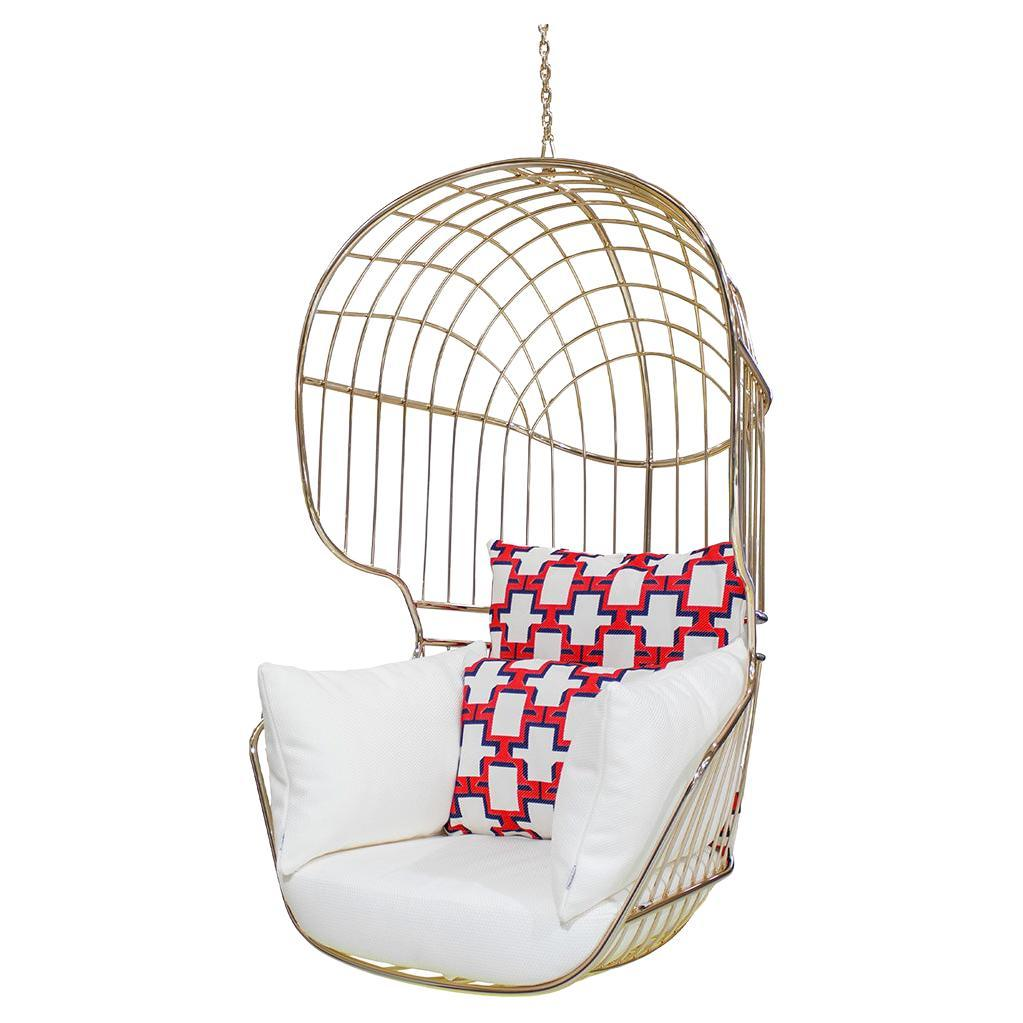 Outdoor Hanging Chair Stainless Steel Gold Plated Dedar Fabric