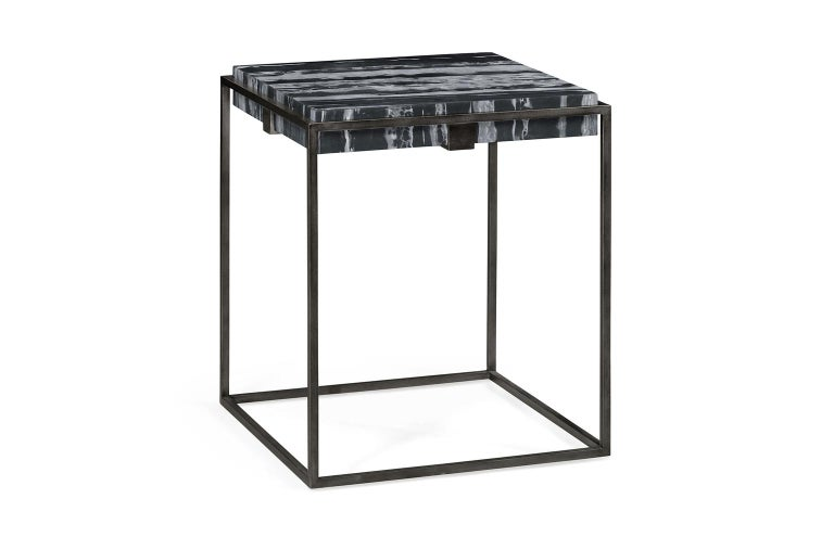 Set of Two End Tables in Antiqued Pewter and Black Marble for Indoor or Outdoors For Sale 7
