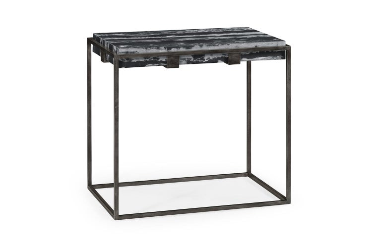 Set of Two End Tables in Antiqued Pewter and Black Marble for Indoor or Outdoors In New Condition For Sale In New York, NY