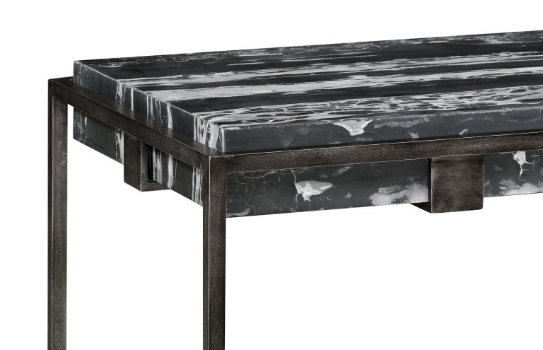 Set of Two End Tables in Antiqued Pewter and Black Marble for Indoor or Outdoors For Sale 1