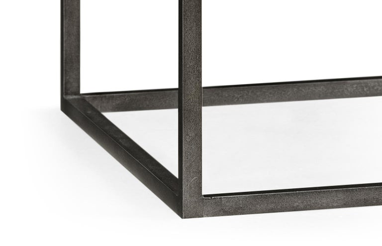 Set of Two End Tables in Antiqued Pewter and Black Marble for Indoor or Outdoors For Sale 2