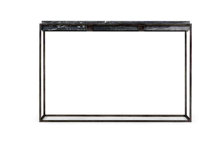 A contemporary rectangular console table featuring an antiqued pewter iron base and a black marble-top. Materials are durably tested and approved to withstand extreme weather conditions making this console a perfect candidate for outdoor design as