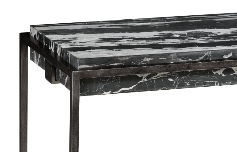 Modern Console in Antiqued Pewter and Marble for Indoor or Outdoor For Sale