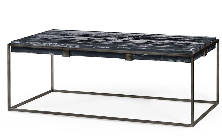 Contemporary Rectangular Coffee Table in Black Marble for Indoor or Outdoors For Sale