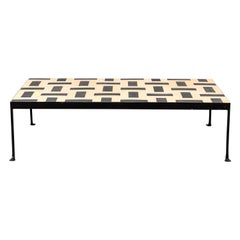 Outdoor Iron Tile Coffee Table with Vintage French Tiles
