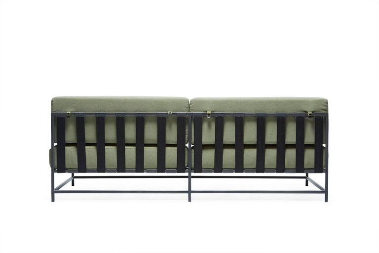 Modern Outdoor Leaf and Charcoal Loveseat For Sale