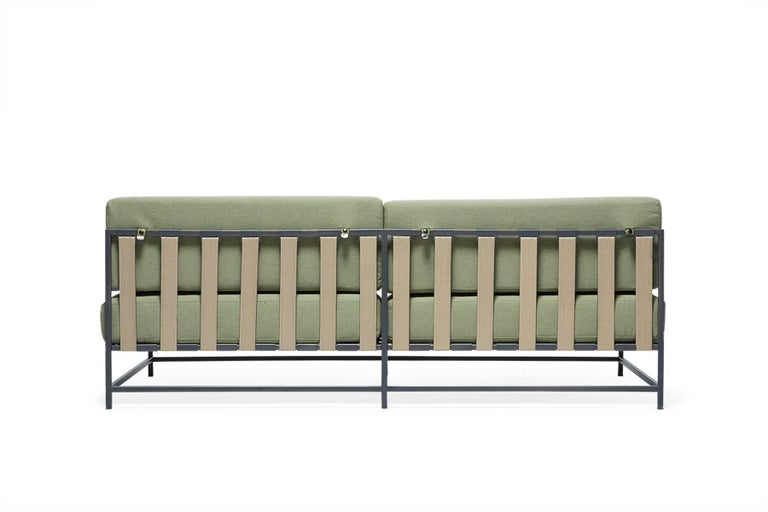 Powder-Coated Outdoor Leaf and Charcoal Loveseat For Sale