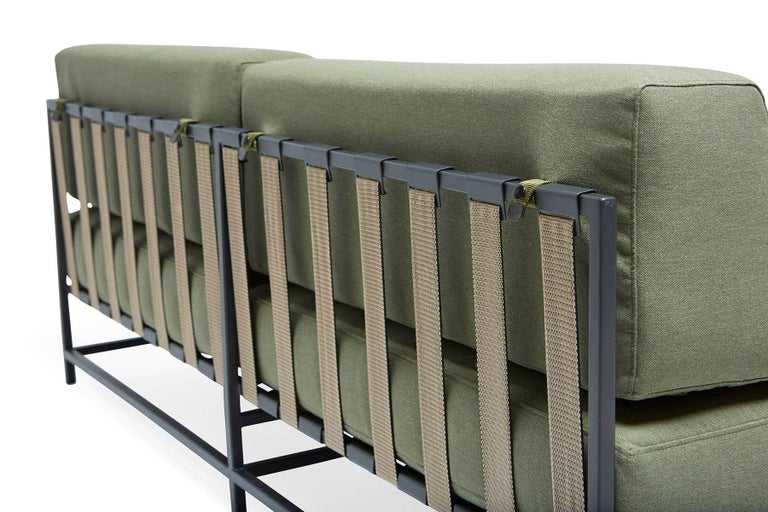 Contemporary Outdoor Leaf and Charcoal Loveseat For Sale