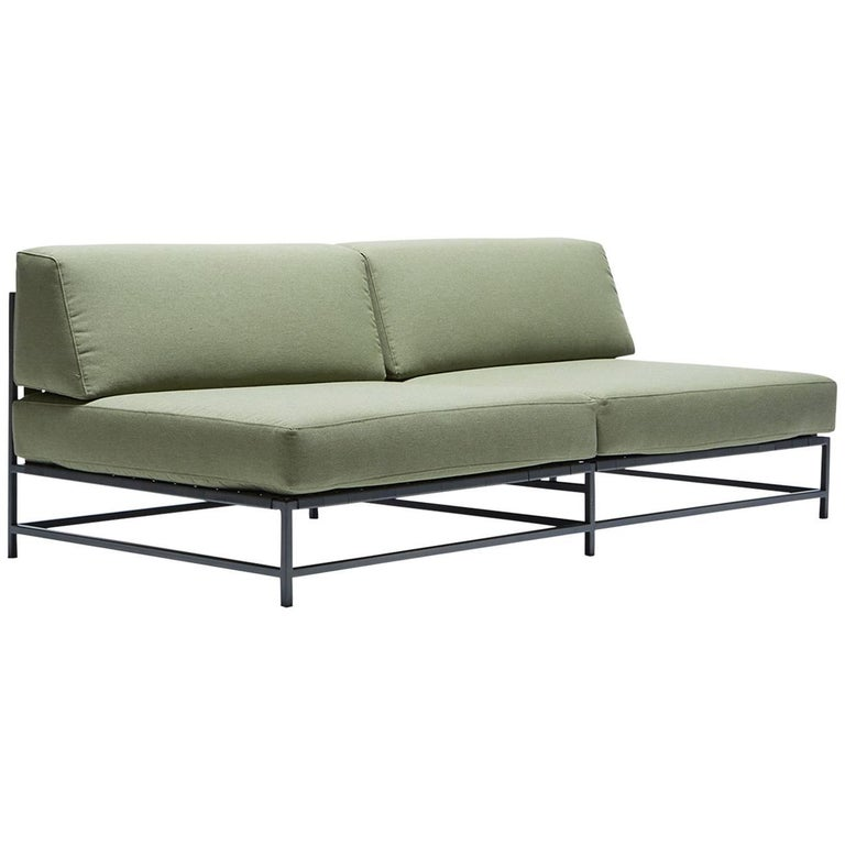 Outdoor Leaf and Charcoal Loveseat For Sale